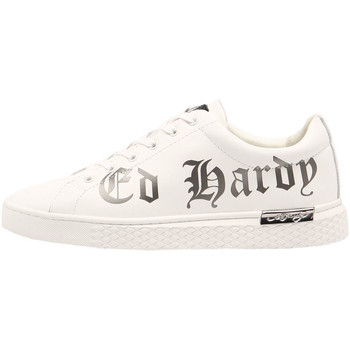 Scarpe Uomo Sneakers basse Ed Hardy - Script low top white-gun metal Bianco