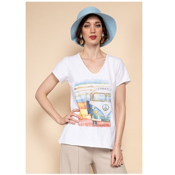 Abbigliamento Donna Top / Blusa Fashion brands 8301-COMBI-SKY-BLUE Blu