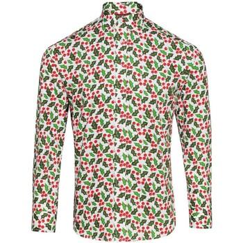 Abbigliamento Uomo Camicie maniche lunghe Christmas Shop CS001 Bianco agrifoglio
