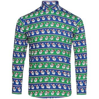 Abbigliamento Uomo Camicie maniche lunghe Christmas Shop CS001 Verde/Blu Babbo natale