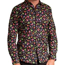 Abbigliamento Uomo Camicie maniche lunghe Christmas Shop CS001 Nero fantasia