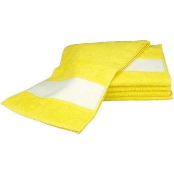 Casa Asciugamano e guanto esfoliante A&r Towels 30 cm x 140 cm Giallo brillante