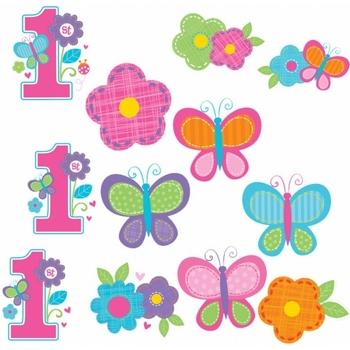 Casa Adesivi Amscan SG15002 Fiori e farfalle