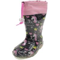Scarpe Bambina Stivali da pioggia Diamantino GG500UN NERO