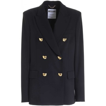 Abbigliamento Donna Giacche / Blazer Moschino GIACCA DOPPIOPETTO TEDDY BUTTONS NERA DONNA  05065530 A NERO