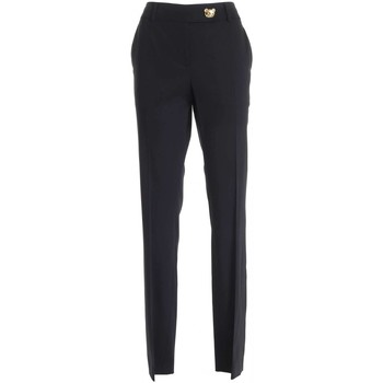 Abbigliamento Donna Pantaloni Moschino PANTALONI TEDDY BUTTON NERI DONNA  03275530 A555 NERO