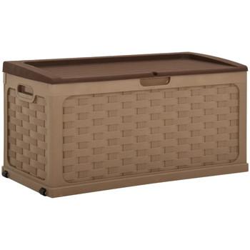 Casa Cestini, scatole e cestini Vidaxl Baule da Giardino 335 L Moka e Cioccolato in PP Marrone