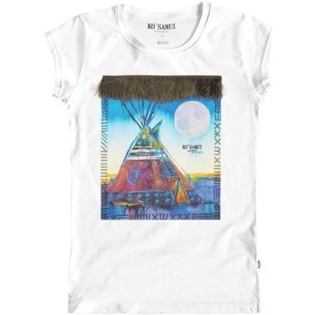 Abbigliamento Donna T-shirt maniche corte Ko Samui Tailors Blue Tent Feather T-Shirt Bianco Bianco