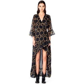 Abbigliamento Donna Abiti lunghi GaËlle Paris ABITO IN CHIFFON STAMPATO  GBD9003 NERO NERO