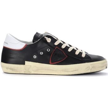 Scarpe Uomo Sneakers basse Philippe Model Sneaker Paris X in pelle nera con spoiler bianco Nero