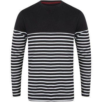 Abbigliamento Uomo T-shirts a maniche lunghe Front Row FR134 Blu navy/Bianco