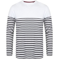 Abbigliamento Uomo T-shirts a maniche lunghe Front Row FR134 Bianco/Blu navy