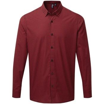 Abbigliamento Uomo Camicie maniche lunghe Premier PR252 Nero/Rosso