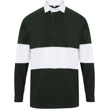Abbigliamento Polo maniche lunghe Front Row FR07M Verde Bottiglia/Bianco