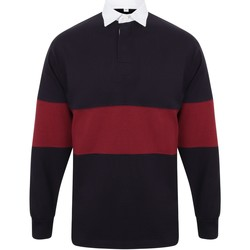 Abbigliamento Polo maniche lunghe Front Row FR07M Blu Navy/Borgogna