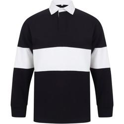 Abbigliamento Polo maniche lunghe Front Row FR07M Blu Navy/Bianco