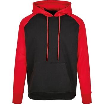 Abbigliamento Uomo Felpe Build Your Brand BB005 Nero/Rosso