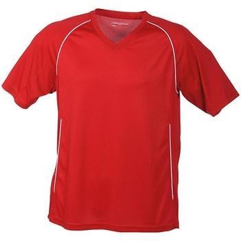 Abbigliamento T-shirt maniche corte James And Nicholson  Rosso/Bianco