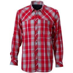 Abbigliamento Uomo Camicie maniche lunghe James And Nicholson  Rosso/Blu Navy