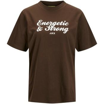 Abbigliamento Donna T-shirt maniche corte Jack & Jones T-shirt femme  bea demitasse bright white print cali 9