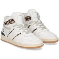 Scarpe Donna Sneakers alte Date D.A.T.E. Sport High vintage calf white leopard BIANCO