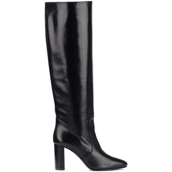 Scarpe Donna Stivali Via Roma 15 Stivale con tacco in pelle nera Nero