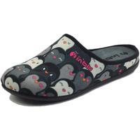 Scarpe Donna Pantofole Inblu GF000005 Nero Pantofole Donna in tessuto motivo pinguini Nero