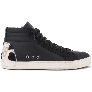 Scarpe Donna Sneakers alte P448 Skatec BlkCow Bianco Bianco