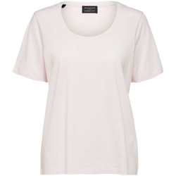 Abbigliamento Donna T-shirt & Polo Selected 16077339 STANDARD U-NECK-PRIMROSE PINK rosa