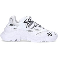 Scarpe Donna Sneakers basse N°21 Sneakers  in pelle con scritte all over BIANCO