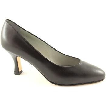 Scarpe Real moda  014 nero scarpe donna decolletè suola cuoio