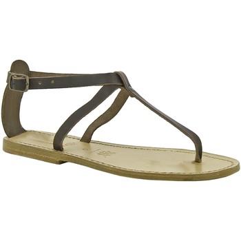 Scarpe Donna Sandali Gianluca - L'artigiano Del Cuoio Sandali infradito in pelle marrone scuro artigianali da donn Testa di Moro