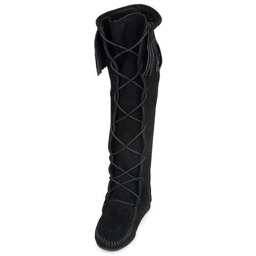 Lace Boot Donna Knee Hardsole Nero Stivali Hi Gratuita Scarpe Minnetonka Consegna Front 15500 rCtsQdxh