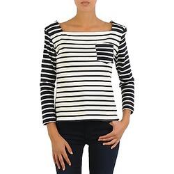 Abbigliamento Donna T-shirts a maniche lunghe Petit Bateau CARTABLE Marine / Bianco