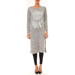 Abbigliamento Donna Abiti lunghi By La Vitrine Robe Plume gris clair Grigio