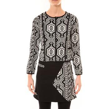 Abbigliamento Donna Giacche / Blazer Bamboo's Fashion Veste Chiner BW682 noir et blanc Nero