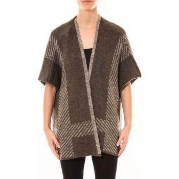 Abbigliamento Donna Gilet / Cardigan De Fil En Aiguille Poncho Elina Marron Marrone