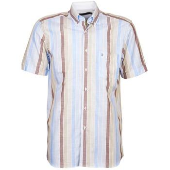 Abbigliamento Uomo Camicie maniche corte Pierre Cardin 539936240-130 Blu / Beige / Marrone