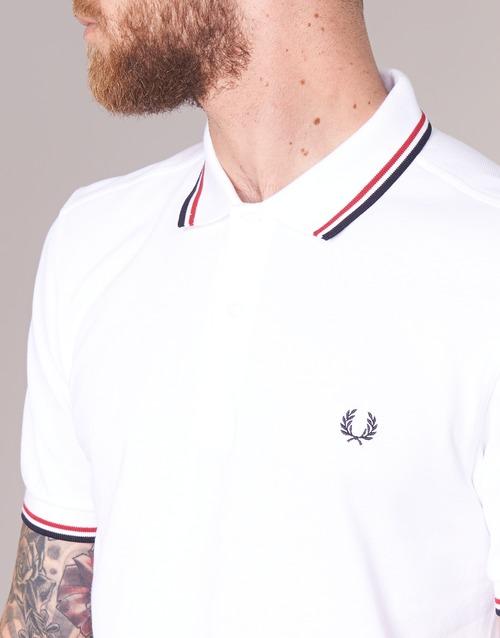 Perry Corte Polo Maniche Fit Gratuita 8500 Consegna Abbigliamento Slim Uomo Twin Fred Tipped BiancoRosso kOiPXZuT