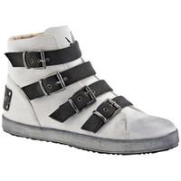 Scarpe Donna Sneakers alte F. Milano Trendy 4 Fibbie Casual bianco