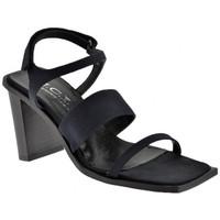 Scarpe Donna Sandali Nci 3 Fasce Velcro Tacco 80 Sandali nero