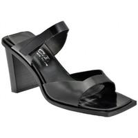 Scarpe Donna Sandali Nci 2 Fasce Velcro Tacco 80 Sandali nero