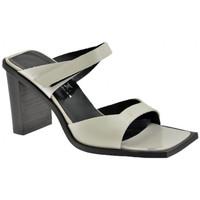 Scarpe Donna Sandali Nci 2 Fasce Velcro Tacco 80 Sandali perla