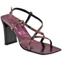 Scarpe Donna Sandali Nci Incrociato Rettile Tacco 90 Sandali rosa