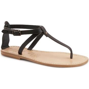 Scarpe Donna Sandali Gianluca - L'artigiano Del Cuoio Sandalo infradito in pelle artigianali da donna nero