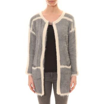 Abbigliamento Donna Gilet / Cardigan De Fil En Aiguille Gilet 1815 Bicolore Gris /Blanc Grigio