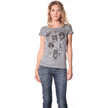 Abbigliamento Donna T-shirt maniche corte Rich & Royal Rich&Royal Tee shirt Visages Gris 13q465 Grigio
