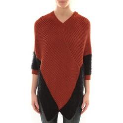 Abbigliamento Donna Gilet / Cardigan Barcelona Moda Poncho Bicolore Arancio