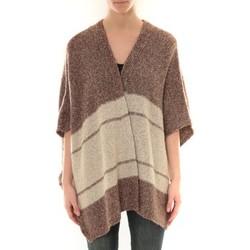 Abbigliamento Donna Gilet / Cardigan Barcelona Moda Gilet YM21 Marron et Beige Marrone