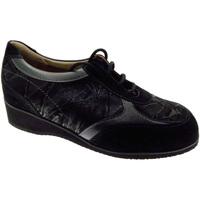 Scarpe Donna Sneakers basse Loren art L805a lacci nero extra large scarpa donna ortopedica nero